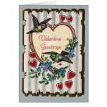Vintage Bluebirds and Hearts Valentine Card