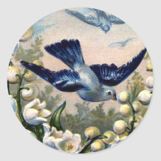 vintage bluebirds flowers lily of the valley birds classic round sticker