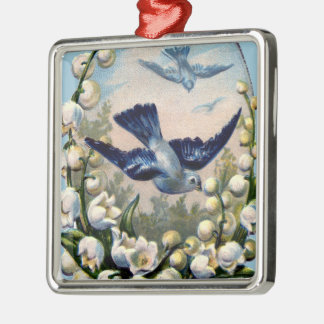vintage bluebirds flowers lily of the valley birds Silver-Colored square ornament