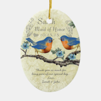 Vintage Bluebirds Maid of Honor Ornaments