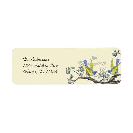 Vintage Bluebirds  Yellow & Blue Return Labels