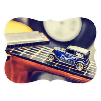 Vintage Blues Miniature Car on Guitar Card
