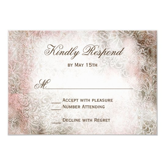Vintage Blush Elegant Rustic Wedding RSVP Cards