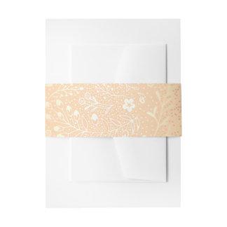 vintage blush gold floral wedding invitation belly band