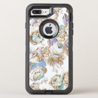 Vintage blush lavender brown teal roses floral OtterBox defender iPhone 8 plus/7 plus case