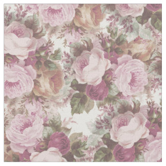 Vintage blush pink burgundy roses floral painting. fabric