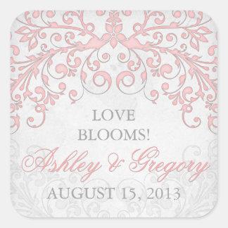 Vintage Blush Pink Grey Floral Wedding Seal