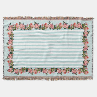Vintage Blush Pink Rose Floral Damask Stripe Throw Blanket