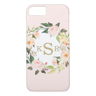 Vintage Blush Pink Roses Floral Wreath Monogrammed iPhone 8/7 Case