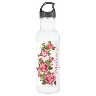 Vintage blush pink roses Peonies name 710 Ml Water Bottle