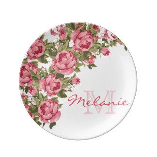 Vintage blush pink roses Peonies name, monogram Plate
