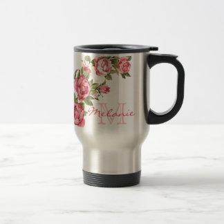 Vintage blush pink roses Peonies name, monogram Travel Mug