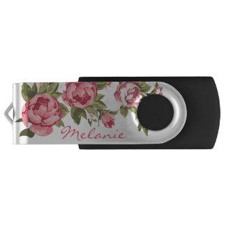 Vintage blush pink roses Peonies name USB Flash Drive