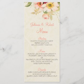 Vintage Blush Roses Floral Wedding Menu