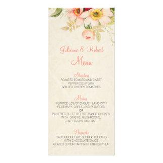 Vintage Blush Roses Floral Wedding Menu