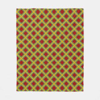 Vintage Board Game Inspired Diagonal Tiles Fleece Blanket