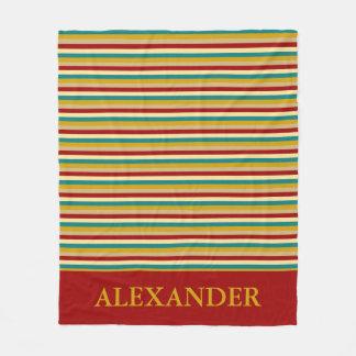 Vintage Board Game Inspired Stripes Fleece Blanket