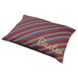 Vintage Boathouse Stripe Personalized Pet Bed