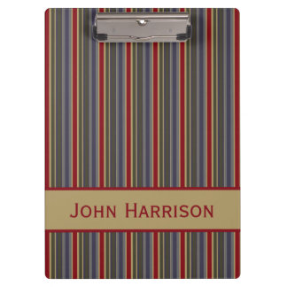 Vintage Boathouse Stripes Personalized Clipboard