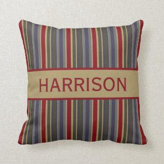Vintage Boathouse Stripes Personalized Throw Pillow