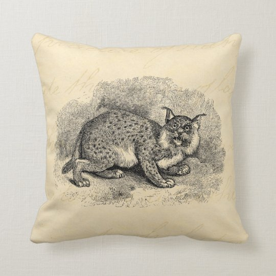 Vintage Bobcat 1800s Bob Cat Lynx Illustration Throw Pillow