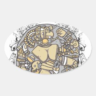 vintage body parts together oval sticker