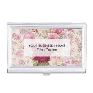 Vintage bohemian pink lavender roses flowers business card holder