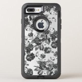 Vintage bohemian stylish black white roses floral OtterBox defender iPhone 8 plus/7 plus case