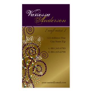 Vintage Boho Purple Spirals Golden Profile Card Business Card Templates