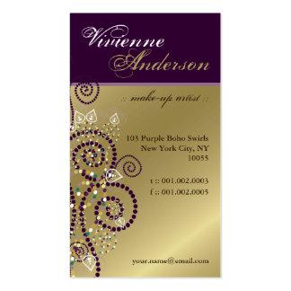 Vintage Boho Purple Spirals Golden Profile Card Business Cards