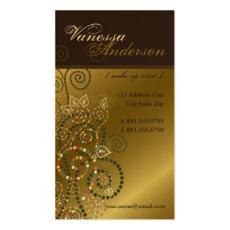 Vintage Boho Spirals Pattern Golden Profile Card Business Card Templates