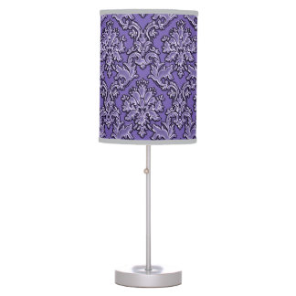 Vintage Boho Style Purple Damask Lamp