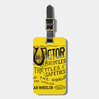 Vintage Bold Orange Victor Bicycles Winged Tire Ad Luggage Tag