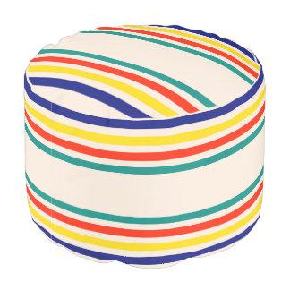 Vintage Bold Striped Round Pouf
