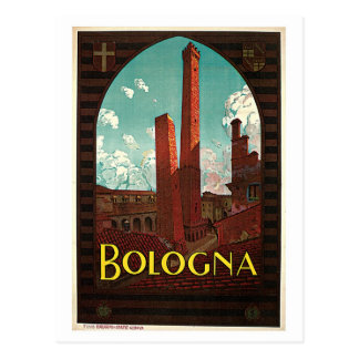 Vintage Bologna 1920s Italian travel ad Postcard