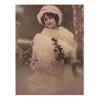 Vintage Bonne Annee Winter Postcard