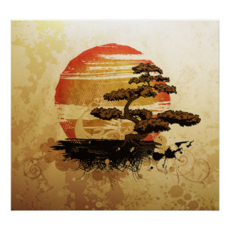 Vintage Bonsai Sunset Poster