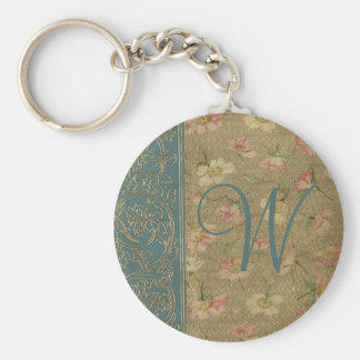 Vintage Book Cover Monogram Basic Round Button Keychain