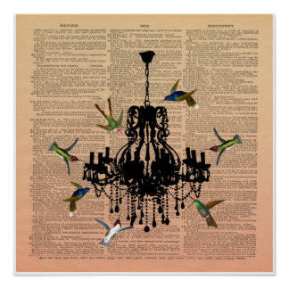 Vintage Book Page Hummingbird Chandelier Poster
