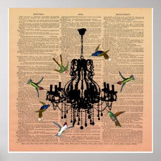 Vintage Book Page Hummingbird Chandelier Poster