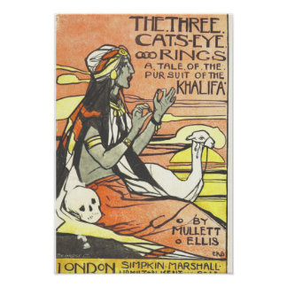 """Vintage Book Poster """"The Three Cats-eye Rings"""""""