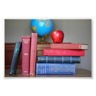 Vintage Books and Apple for the Teacher Photo Print