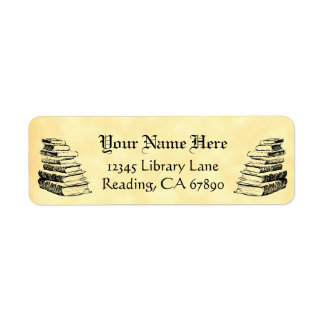 Vintage Books Custom Return Address Faux Parchment