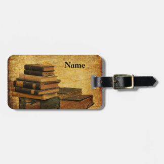 Vintage Books Luggage Tag with Leather Strap