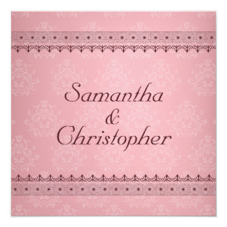 Vintage Bordeaux Deco Lace on Pink Wedding Card