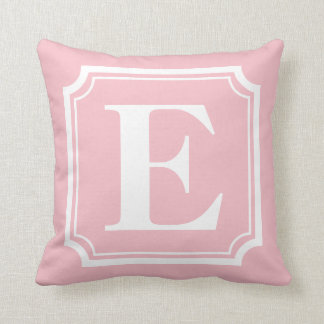 Vintage Border | Blush Pink Personalized Monogram Throw Pillow