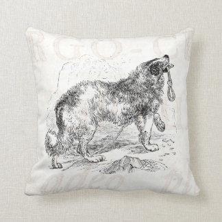 Vintage Border Collie Dog Template Throw Pillow