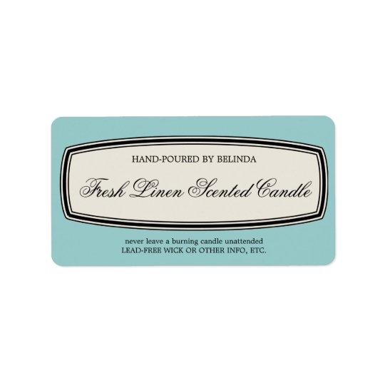 Vintage Border Handmade Candle Label, Pale Blue