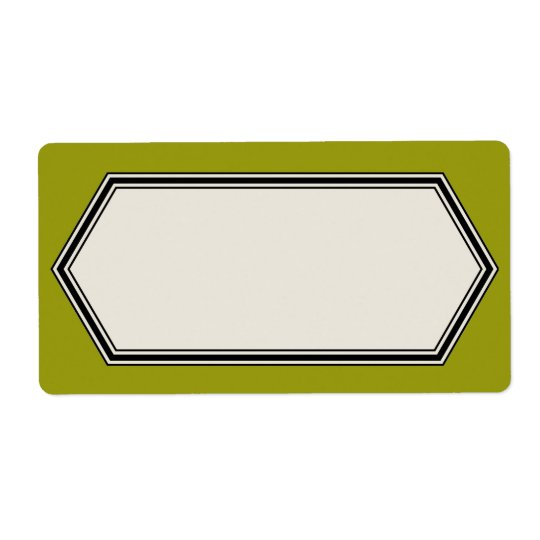 Vintage Border Label Template, Olive Green
