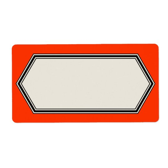 Vintage Border Label Template, Tomato Red